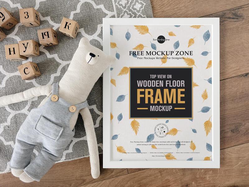 Free Wooden Floor Frame Mockup PSD Template