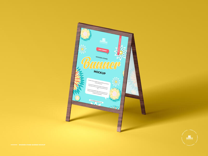 Free Wooden Stand Banner Mockup PSD Template