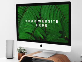 Free iMac on Stand PSD Mockup PSD Template