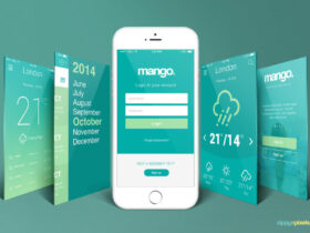 Free iPhone Perspective App Screen Mockup PSD